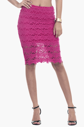 FABALLEY Womens Lace Pencil Skirt