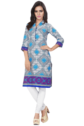 DEMARCA Womens Printed Kurta (Buy Any Demarca Product & Get A Pair Of Matching Earrings Free) - 200936942