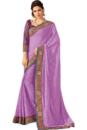 DEMARCA Womens Embroidered Saree (Buy Any Demarca Product & Get A Pair Of Matching Earrings Free) - 200946965