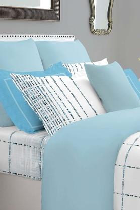 SPACES Epica Blue 400 TC Cotton Double Bedding Set With 2 Pillow Covers And Sham Covers  ...