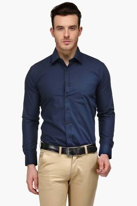 Mens Navy Slim Fit Solid Formal Shirt