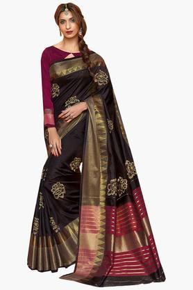 Women Cotton Floral With Zari Border Embroidered Saree