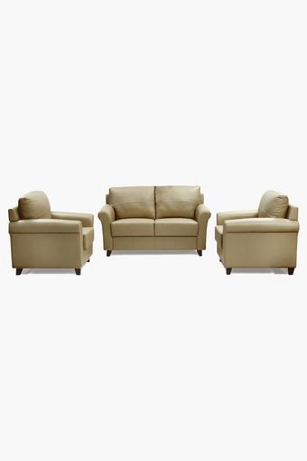 Camel Cord Leatherette Sofa (2-1-1 Sofa Set)