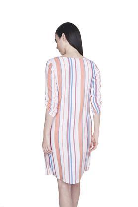 Womens Round Neck Striped Wrap Dress