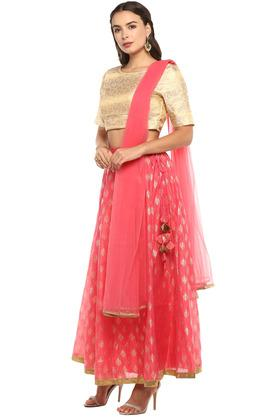 Womens Round Neck Printed Ghaghra Choli and Dupatta Set