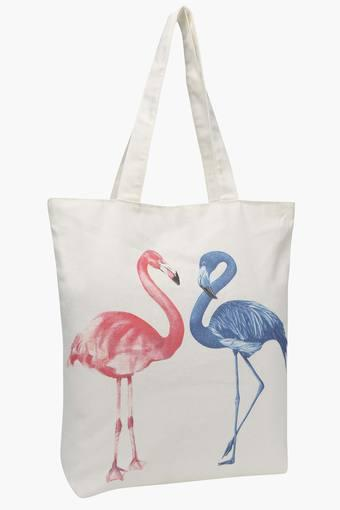 Rectangular Flamingo Print Shopping Bag