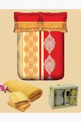 TANGERINE Cotton Printed Double Bedsheet, Pillow, Towel And Vaporiser Set