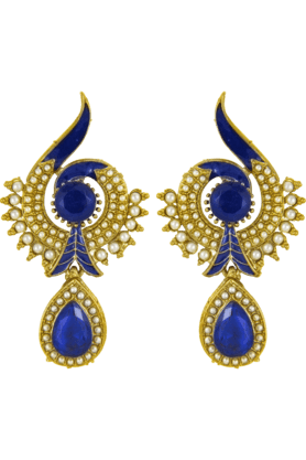 DONNA Traditional Ethnic Blue Peacock Dangler Earring With Crystal & Artificial Pearl For Women By Donna ER30021G