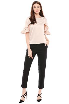 Womens Square Neck Solid Embellished Top