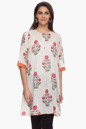 BOHEMYAN BLUE Womens Round Neck Printed Kurta