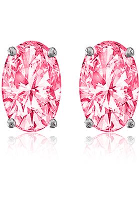 MAHI92.5 Elegant Silver Pink Elegant Oval Stud Earrings Made With Swarovski Zirconia By Mahi ER3102003Pin