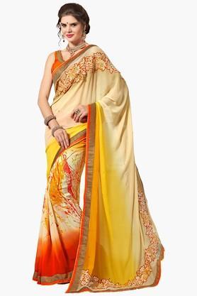 ASHIKAWomens Colour Block Resham Embroidered Saree