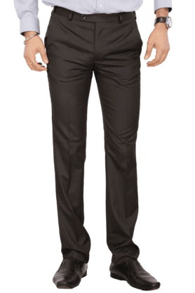 PARK AVENUEMens Flat Front Slim Fit Solid Formal Trousers - 200019716