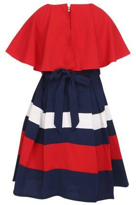 Girls Round Neck Colour Block Pleated Dress