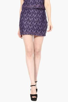 MISS CHASE Womens Self Pattern Short Skirt
