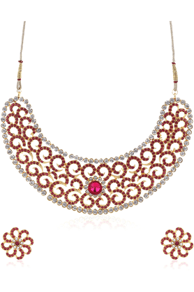 SIA Traditional Pink/Golden Necklace Set-16529