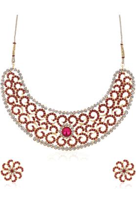 SIATraditional Pink/Golden Necklace Set-16529