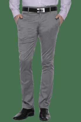 VDOTMens Flat Front Slim Fit Solid Formal Trouser - 200615436