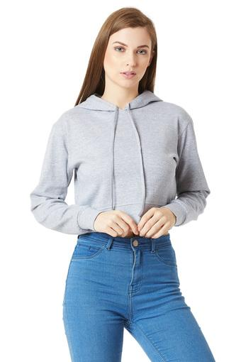 Womens Hooded Neck Slub Crop Sweatshirt