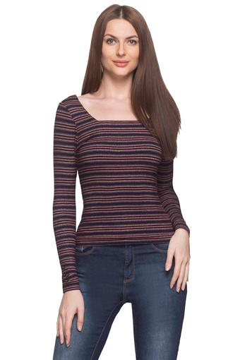 Womens Square Neck Striped Top