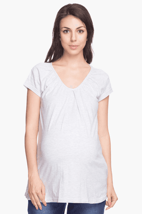 NINE MATERNITY Womens Regular Fit Slub T-Shirt