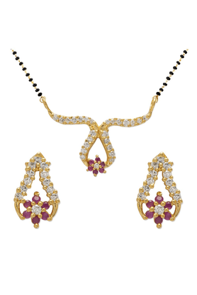 MAHI Mahi Gold Plated Embellished Gold Mangalsutra Set With CZ Stones For Women NL1103504G