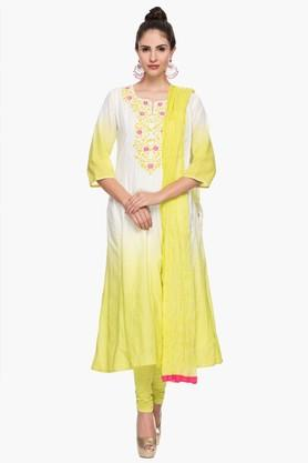 STOP Womens Round Neck Colour Block Embroidered Churidar Suit