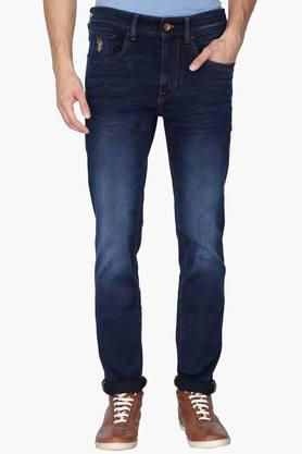 U.S. POLO ASSN. DENIM Mens 5 Pocket Skinny Fit Mild Wash Jeans (Regallo Fit)
