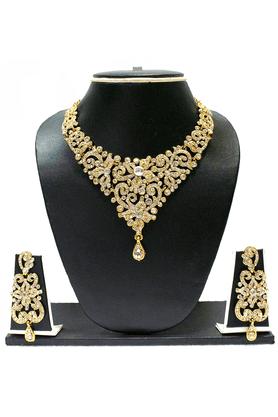 ZAVERI PEARLSDesigner Austrian Diamond Necklace Set - - ZPFK1407