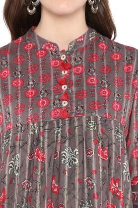 Womens Mandarin Collar Floral Printed Kurta