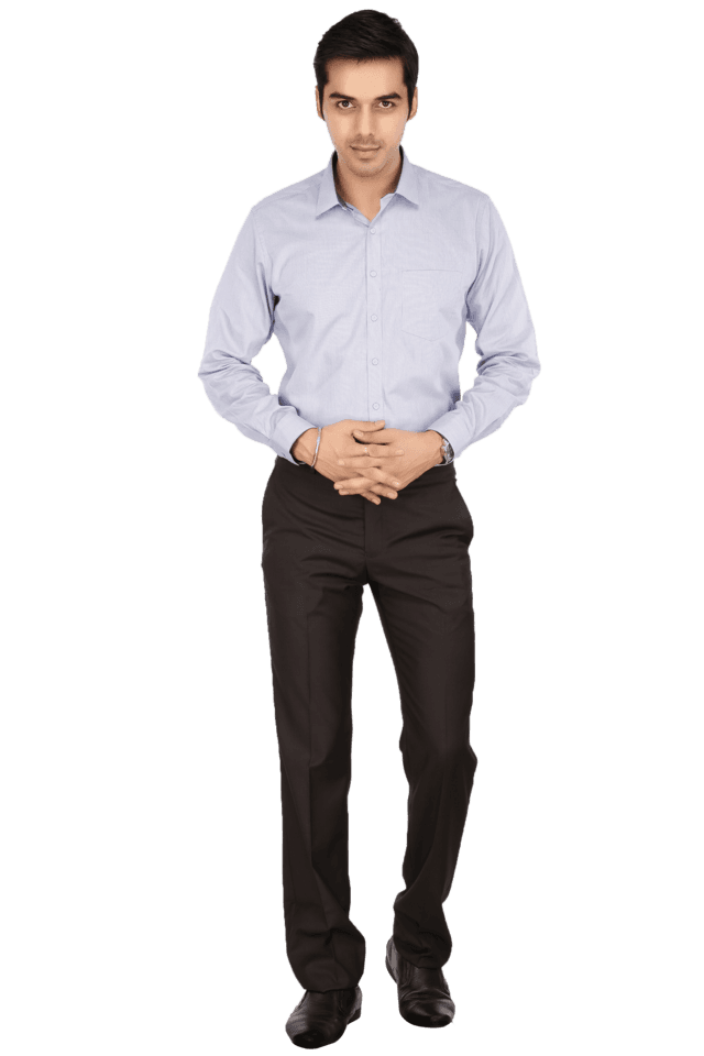Mens Flat Front Slim Fit Solid Formal Trousers