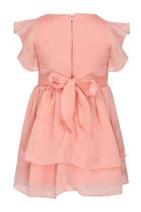 Girls Round Neck Solid Applique Layered Dress