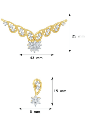 MAHIMahi CZ Collection Gold Plated CZ Mangalsutra Earrings And Pendant Pendant For Women PS1193505G