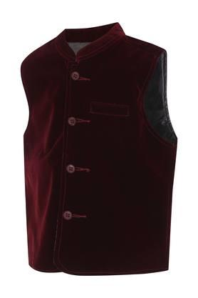 Boys Mandarin Neck Solid Nehru Jacket