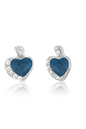 MAHI Rhodium Plated Blue And White Heart Earrings Made With Swarovski Elements For Women ER1194116RBlu