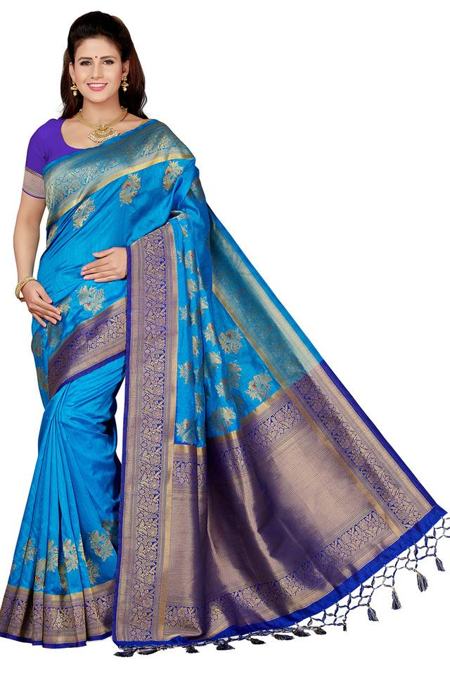 Womens Floral Zari Work Saree with Blouse Piece