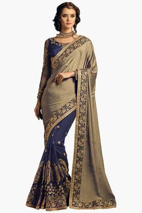ISHIN Women Georgette Embroidered Saree