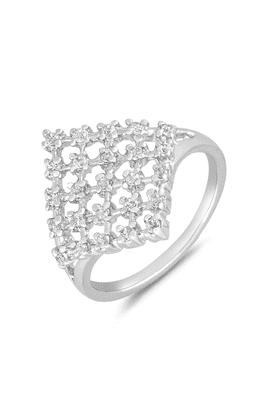 MAHIMahi Rhodium Plated Ultra Modish Finger Ring With CZ For Women FR1100656R