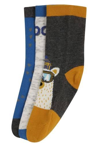 Boys Printed Knitted Crew Length Socks Pack of 3