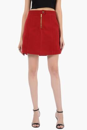 FABALLEY Womens Solid Short Skirt