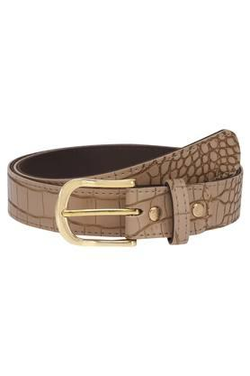 Womens Leather Buckle Closure Belt