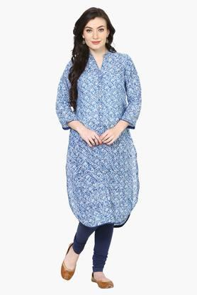 Women Poly Cotton Straight Kurta - 202384936