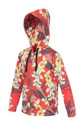 Girls Hooded Neck Floral Print Sweatshirt
