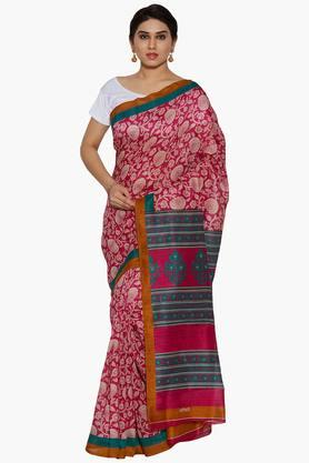 JASHNWomen Floral Print Tussar Silk Saree