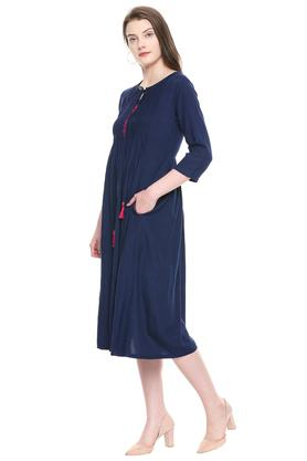 Womens Tie Up Neck Solid Flared Dress