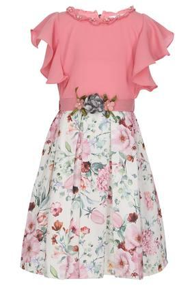 Girls Round Neck Floral Printed Embellished Pleated Dress with Belt