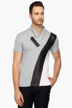 Mens Mao Collar Colour Block T-Shirt
