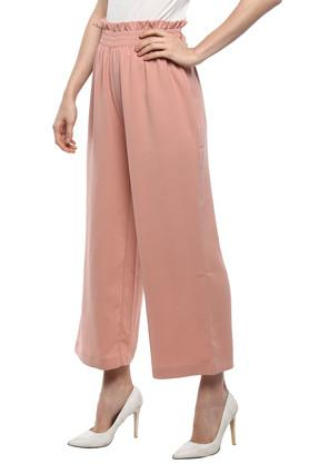 Womens Solid Paper Bag Waist Pants