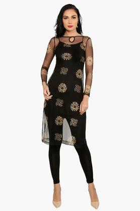 IRA SOLEILWomens Slim Fit Printed Kurta With Inner (Buy Any Ira Soleil Product And Get A Necklace Free) - 201787582