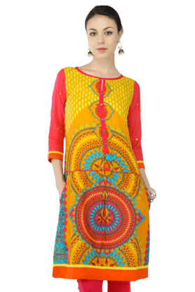 HAUTE CURRY Women Cotton Printed Kurta - 200214609